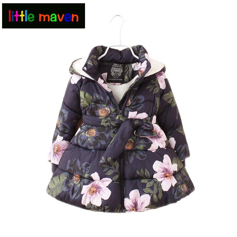 2017 Zimní Dívčí Kabát a Oblečení Vintage Květinové S kapucí Parkas Sashes Krásné Oblečení pro Dívky Zahušťovací Teplá bunda 2-9ys