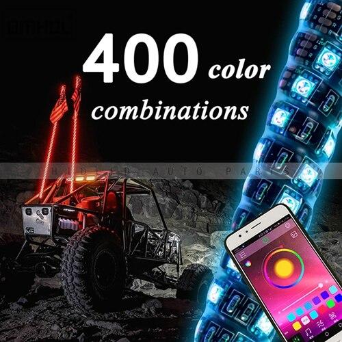 1 pc Twist Style multicolore LED fouet lumière 3FT, 4FT, 5FT disponible - 5