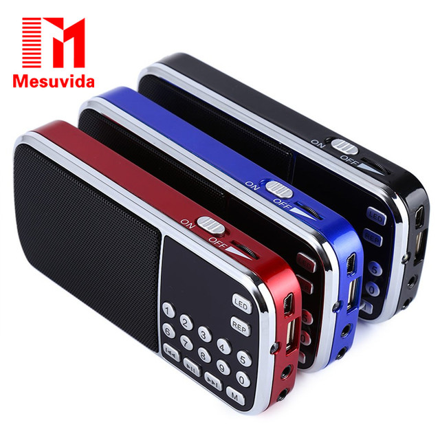 Mesuvida L-088 Portable Speaker Mini FM Radio Stereo Speaker MP3 Music Player Double Loudspeaker with TF Card USB AUX Input