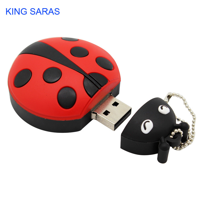 Image 2 - KING SARAS cartoon creative Beetle model usb 2.0 4GB 8GB 16GB 32GB 64GB pen drive USB Flash Drive  gifty Stick Pendrive-in USB Flash Drives from Computer & Office