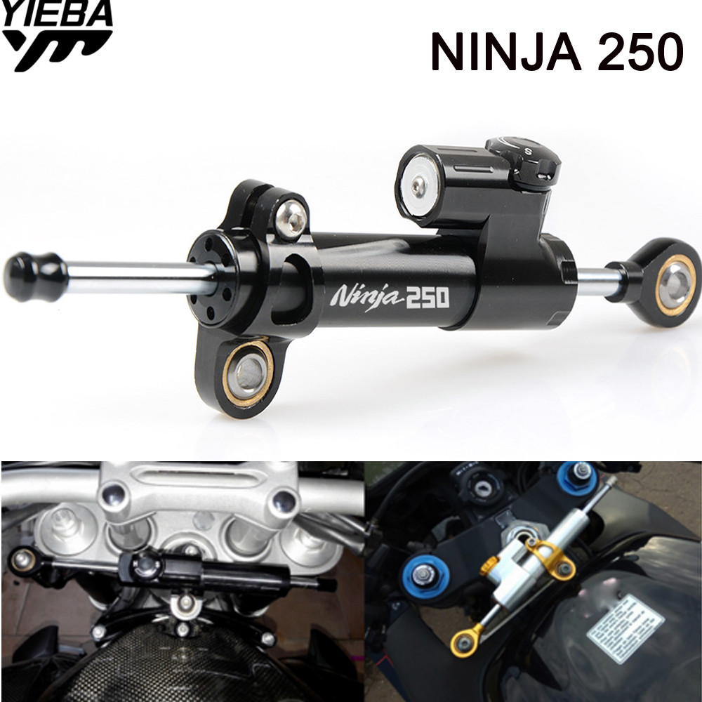 NINJA250 LOGO Universal Motorcycle Damper Steering Stabilize Safety Control FOR KAWASAKI NINJA 250 300 250R 400R ZX10R 650R 1000 ninja300 logo motorcycle stabilizer damper complete steering mounting bracket for kawasaki ninja 300 250r ninja 650r er6f er6n