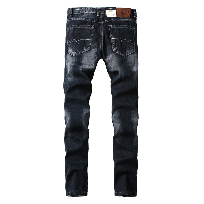 Mid Stripe Brand Jeans For Men Slim Straight Denim Black Jeans Ripped Trousers High Quality Men`s Ripped Jeans A709 fashion slim straight dark jeans men mid stripe mens jeans ripped denim trousers new famous brand biker jeans a625