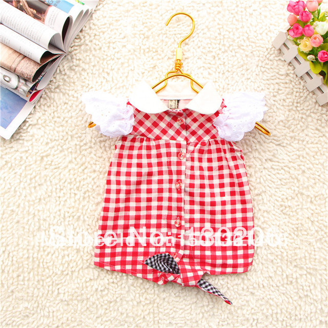 Girls red plaid shirt 2014 summer Korean version of the new fashion style cute baby cardigan jacket children T-shirts