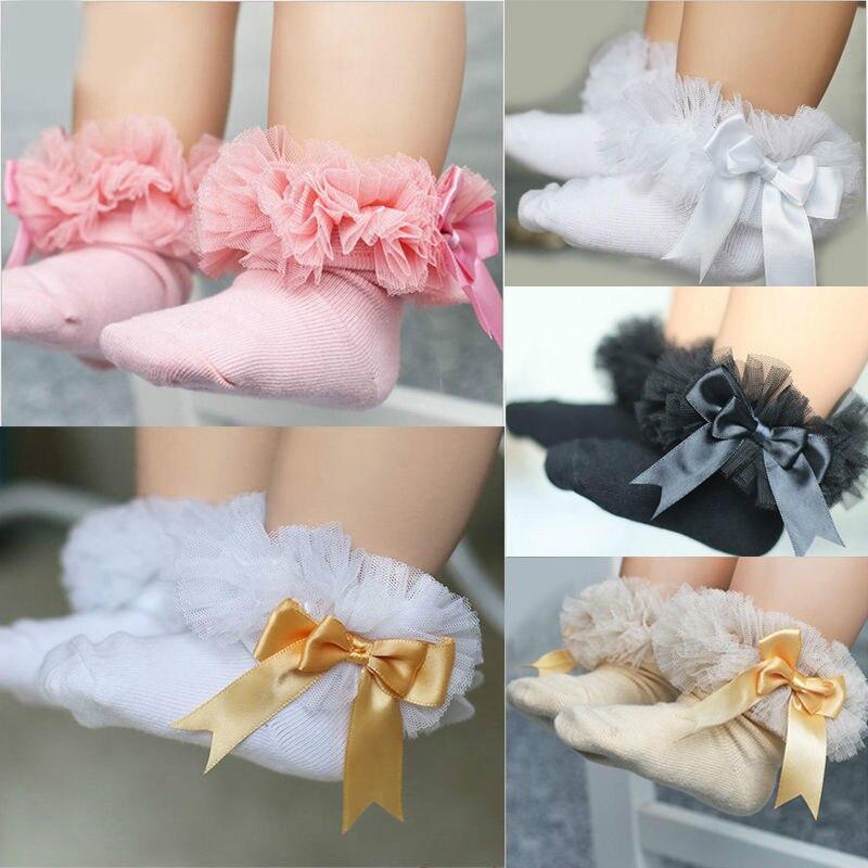2018 Spring Summer Kid Girls Princess Socks Hot Newborn Baby Girls Bowknot Sock Lace Ruffle Frilly Ankle Socks Black White Pink