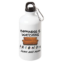 Happiness is watching tv shows friends Sport Water Bottle With Carabiner For Tour Cycling Creative Party Gift Bottles 17oz happiness is