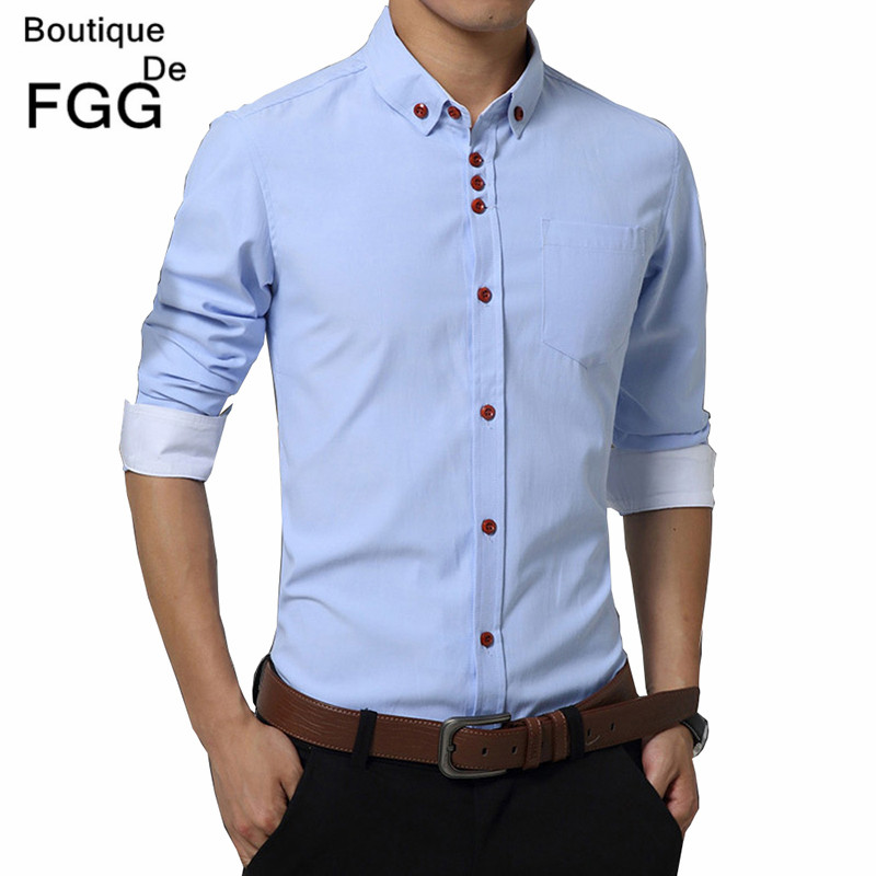 a774a969800 Plus Size M-5XL Men s Fashion Clothing Sky Blue Business Formal Casual  Shirts Long Sleeve Groom Wedding Dress Shirts Slim Fit