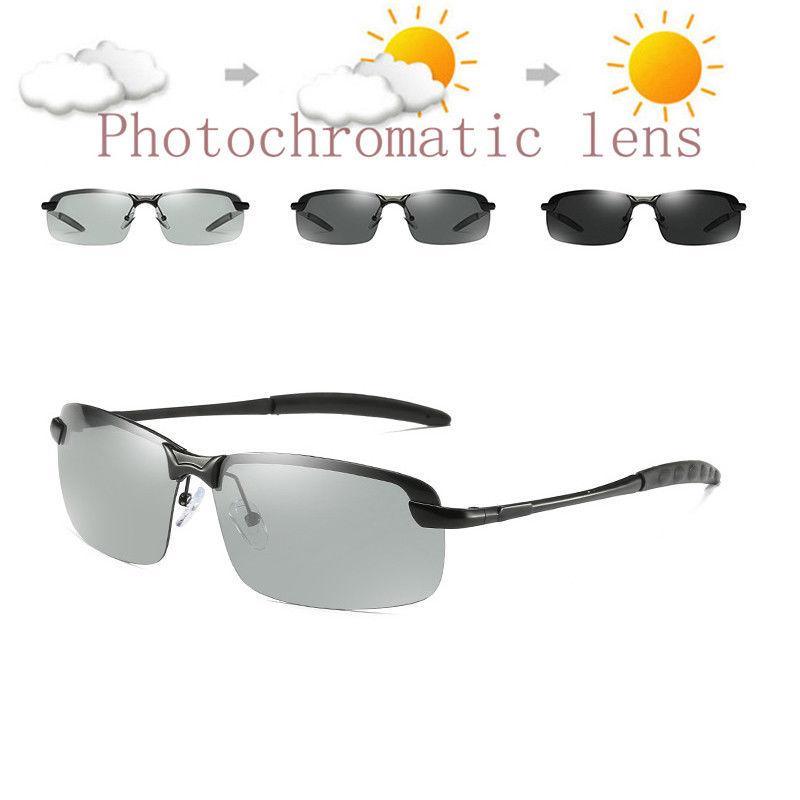 Photochromic Polarized Mens Sunglasses Len Goggles Sport Driving Glasses UV400