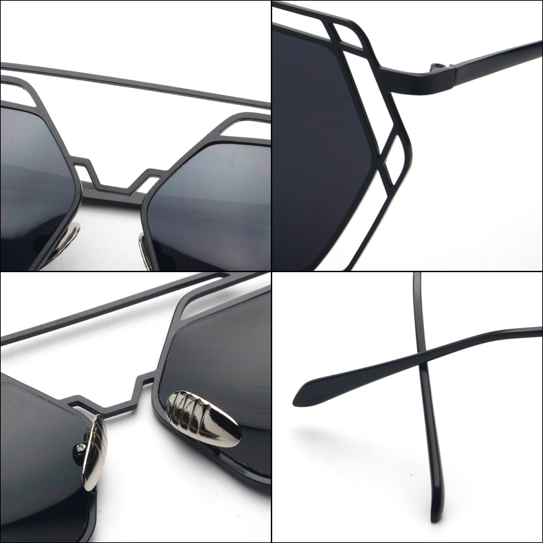 82c2f736fa9 FANQCE Brand Designer 2017 New Big Mirror Sunglasses Women Hexagon Lovers  Hippie UV400 Pilot Hollow Out Sun Glasses Super star-in Sunglasses from  Apparel ...