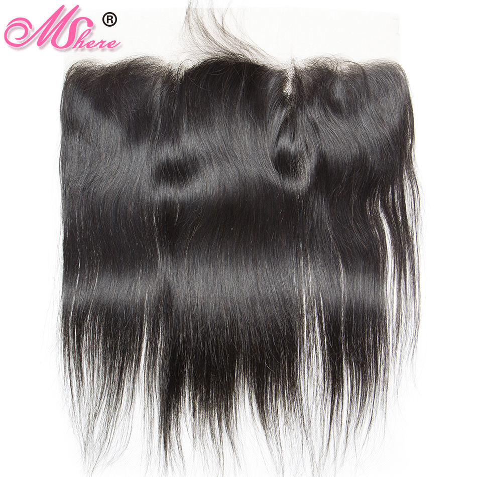 Pre-plucked 13*4 Ear To Ear Lace Frontal With Baby Hair Indian Straight Hair Remy Hair 1b# Mshere Human Hair Swiss Lace Closure