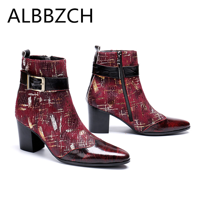 New mens high heels printing leather men boots wedding shoes men fashion buckle designer career work