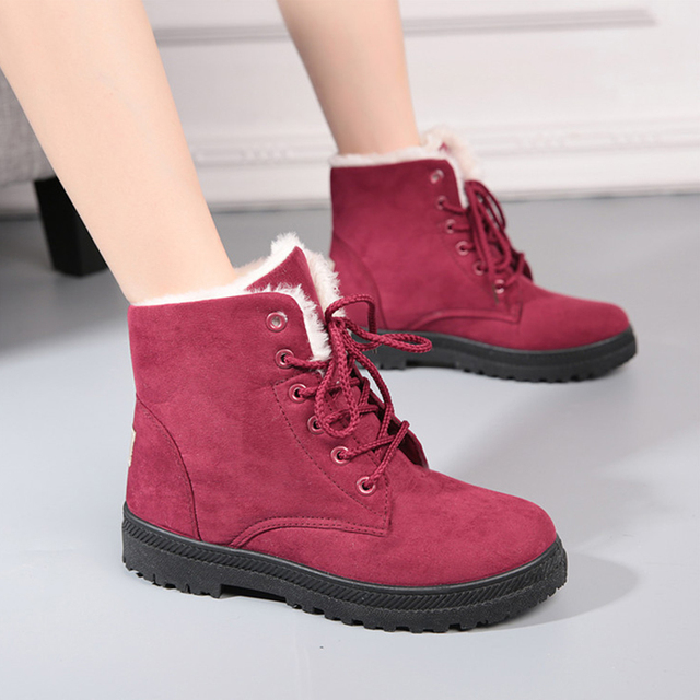Classic Women Boots for Winter Suede Ankle  Boots for Women Female Warm Fur Plush Insole winter shoes women High Quality Lace-Up