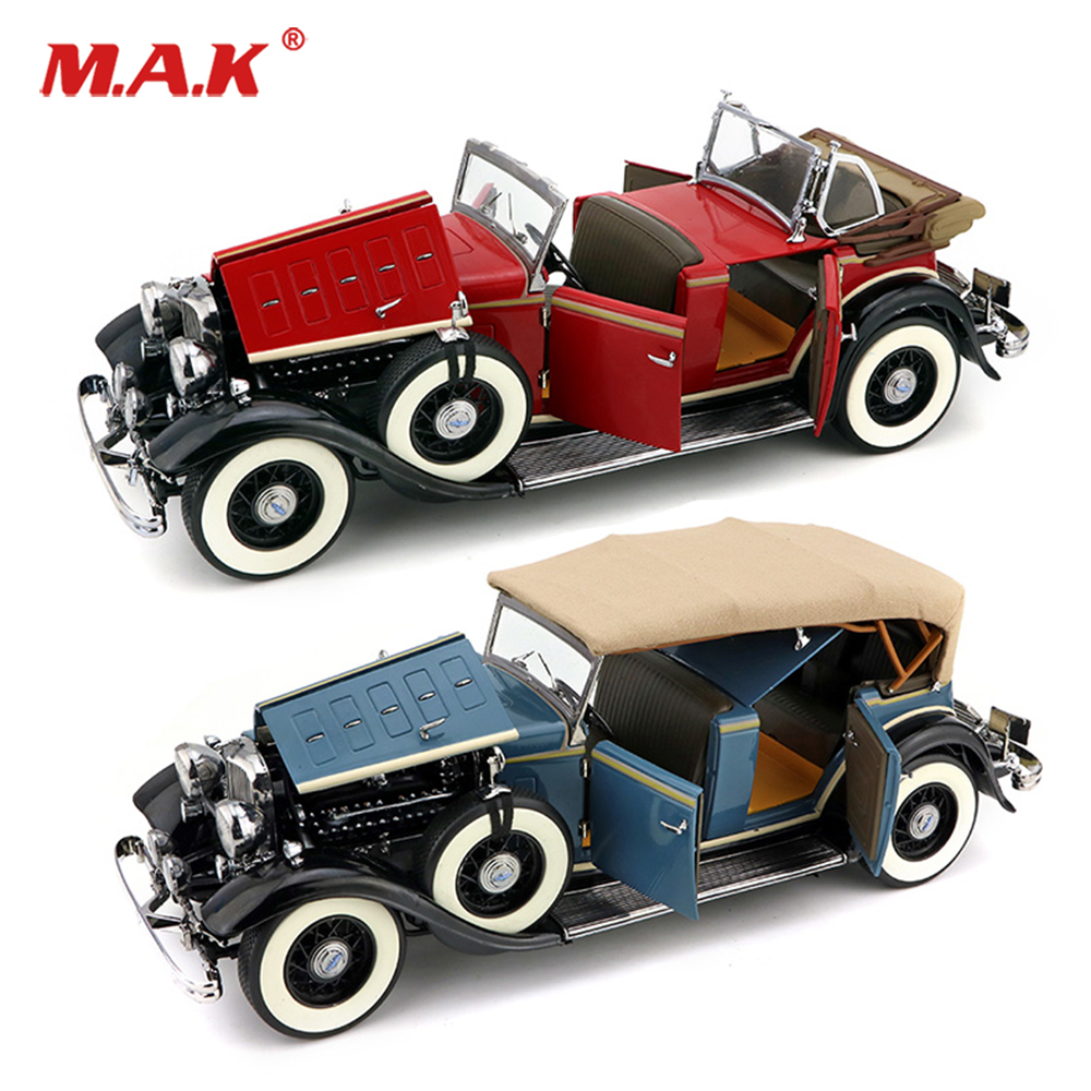 red /blue Kids toys 1/18 Lincoln KB Top up Vintage Classic Car Alloy Diecast Vehicle Car Model Toy Gift Car Toys for Collection yellow car model for 1 18 rover series i ltd 1948 minichamps classic collection diecast model car diy model customs made
