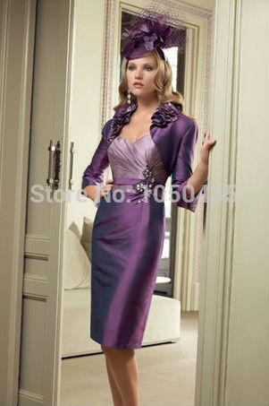 D002 In Stock Sweetheart Knee Length Royal Purple Mother Bride Dresses With Jacket Ruffles Short