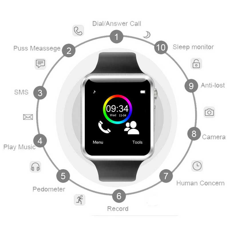 Sport Bluetooth Smart Watch Pedometer WristWatch With SIM Camera Smartwatch For Android Smartphone Russia T15 good than DZ09 A1