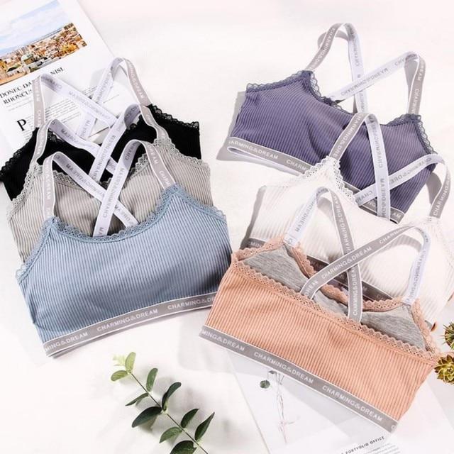 8883dc49b6 Korean Sexy Bralette Trendy Lace Bra Threaded cotton Y-shaped Wire Free  Beauty Back Letter Full Cup Cozy Sleep Bra