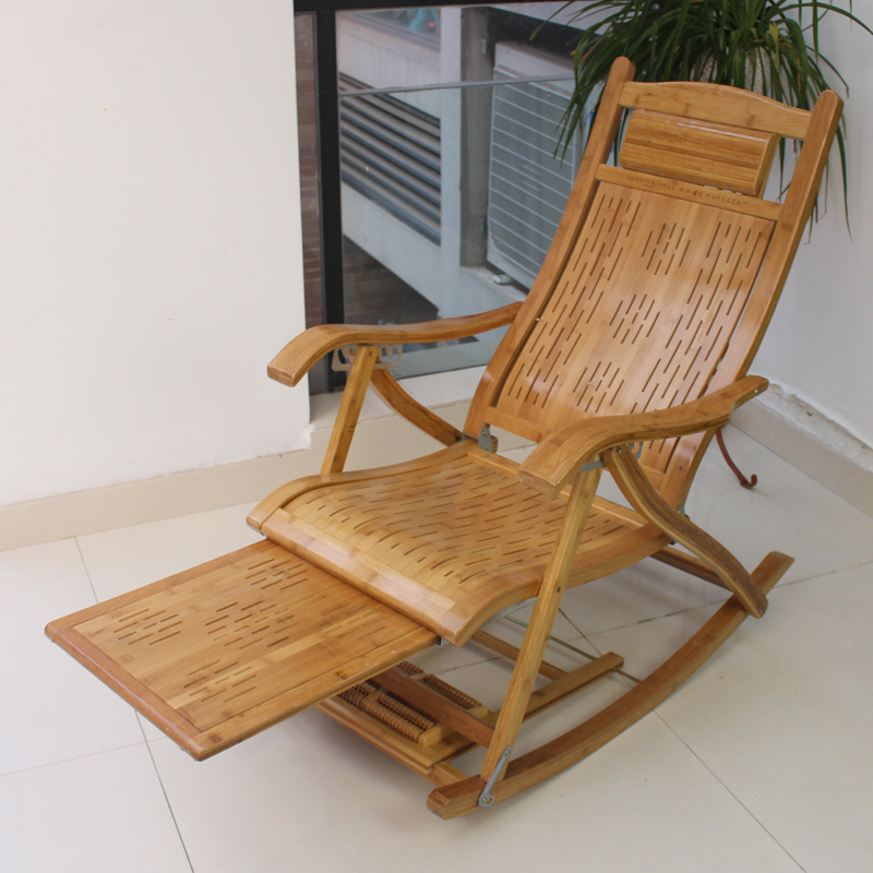 Fashion Bamboo Folding Wicker Chair Recliner Happy Rocking