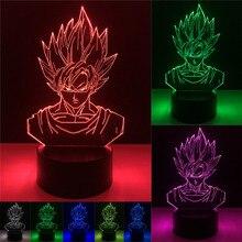 Dragon Ball Luminous Toy Z Figure 3D Led Table Lamp Super Saiyan Goku Vegeta Effect Colorful Visual Illusion USB LED Lights