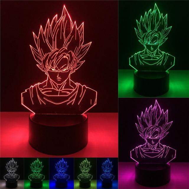 Dragon Ball Z Figura de Brinquedo Luminoso 3D Levou Candeeiro de Mesa Super Saiyan Goku Vegeta Efeito Ilusão Visual Colorido USB LED luzes