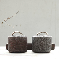 PINNY Iron Scale Glaze Ceramic Tea Jars Japanese Style Tea Caddy Vintage Kung Fu Tea Set Hand Made Storage Containers