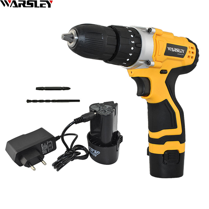 12v Electric Screwdriver Impact Drill Lithium Battery Home Diy High Quality Power Tools Mini Electric Drill Cordless Drill+Gift