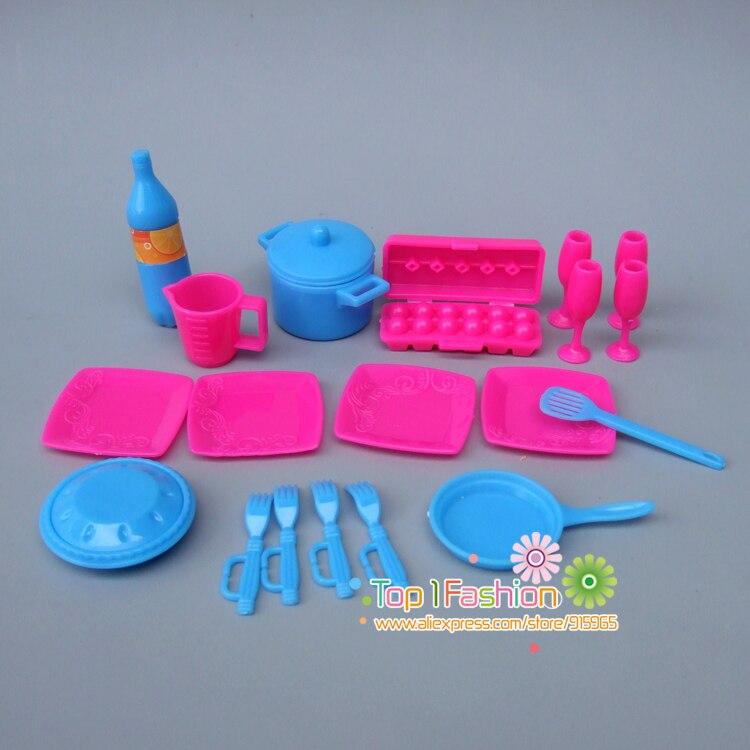 Nouveaux accessoires de poupée de vaisselle de cuisine pour poupées Barbie/pour poupées Monster high jouets filles bébé jouer maison jouets (lot de 19)