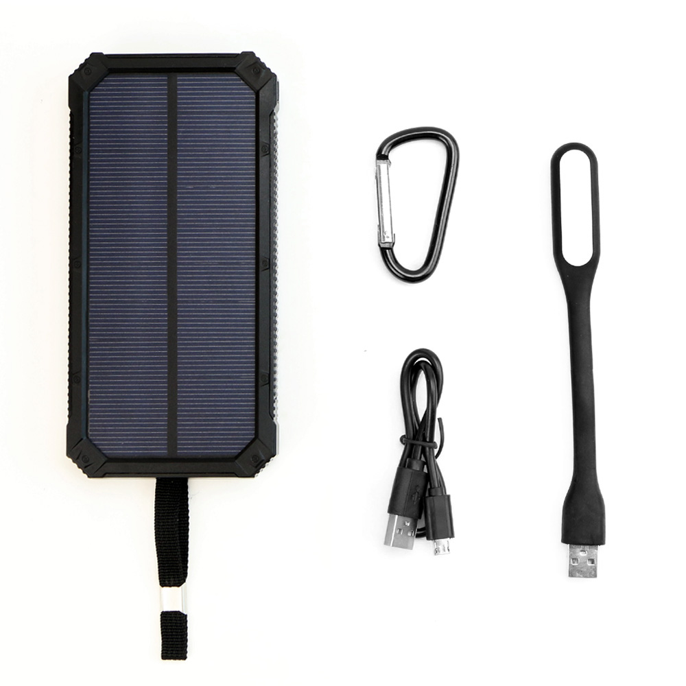 Portable Solar Charger 15000mAh Solar Power Bank with LED Lamp for iPhone 5 6 6s 7 8 X Plus Samsung ipad Huawei Cell Phone