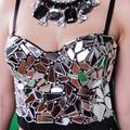 Más el Tamaño de Lujo de Perlas de Cristal hechos A Mano Joya Diamante Discoteca algodón Bralet Sujetador Bustier Recortada Top de Las Mujeres chaleco w1172