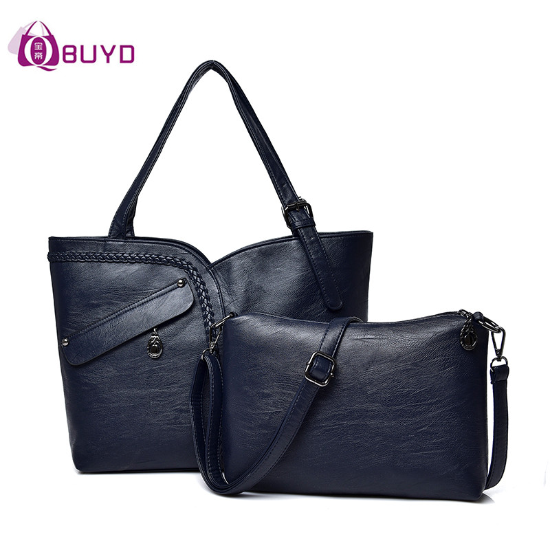 2018 High Quality Women Shoulder Bags 2 Pcs Composite Bag Women Handbags Women's Shoulder Bag Sac A Main Women's Messenger Bags high quality tote bag composite bag 2