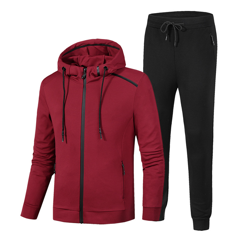 2 Pieces Sets Tracksuit Men Autumn Winter Hooded Sweatshirt Drawstring Pants Women Solid Patchwork Cardigan Hoodies Sportswear