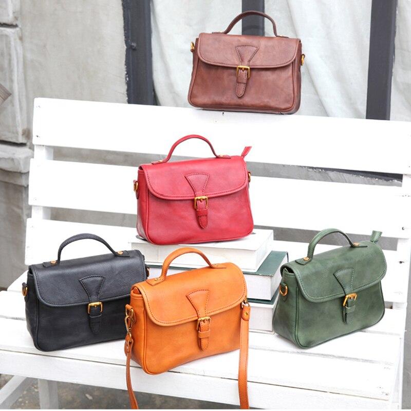YIFANGZHE Retro Women Leather Messenger Bags, High Quality Genuine Cowhide Crossbody /Shoulder Bag Vintage Handbags