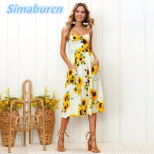 Strap V Neck Summer Dress Women Sunflower Print Backless Casual Dresses Vestidos Loose Sleeveless High Waist Midi Dress Female sunflower print strap dress
