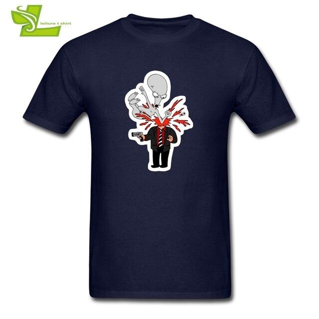 2f20bee63 ROGER T Shirt American Dad Men Short Sleeve Round Tees Adult New Coming Big  Tops Popular Custom Made Comfortable Dad Tee Shirts
