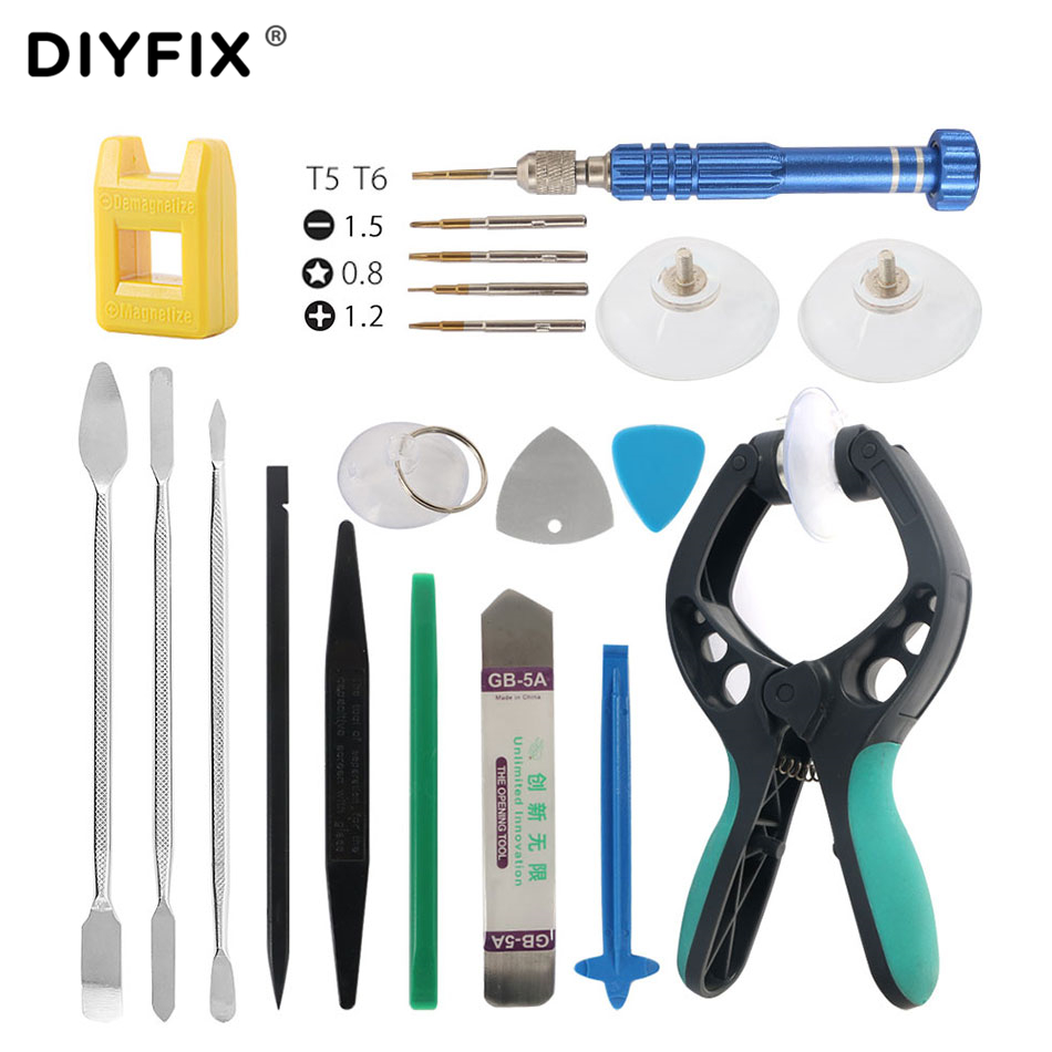 DIYFIX 20 in 1 Reparatur Tools Kit Smartphone LCD Screen Eröffnung Zange Metall Hebeln Spudger Set für Handy Tablet laptop PC