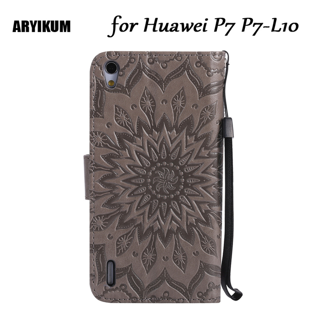 For Huawei P7 P7-L10 Luxury Embossing Sunflower Wallet Flip Protective Cover For Huawei Ascend P7 Coque Capa