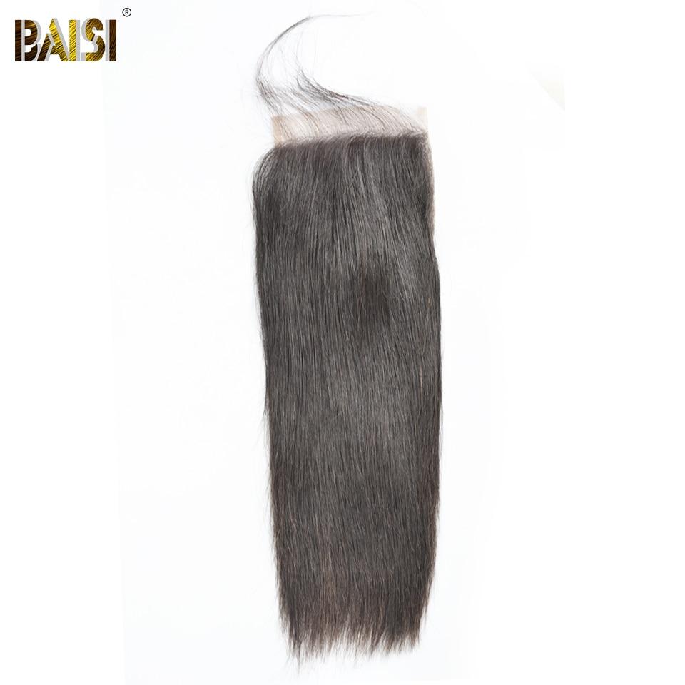 BAISI Hair Peruvian Virgin Hair Swiss Lace Closure Straight Hair 5x5 Closure Free Part Middle Part