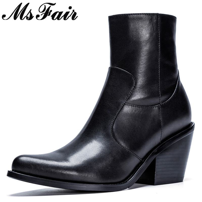 MsFair Pointed Toe High Heel Women Boots Genuine Leather Black Ankle Boots Women Shoes Elegant Square heel Boots Shoes Woman xiangban handmade genuine leather women boots high heel ankle boots pointed toe vintage shoes red coffee 6208k11