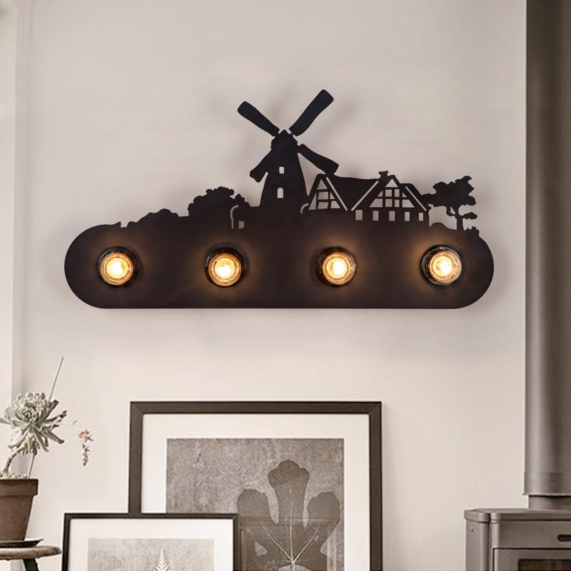 wall mounted led wroguht iron lamp windmill style vintage edsion wall light 20W retro style bar restaurant living room bedside the ivory white european super suction wall mounted gate unique smoke door