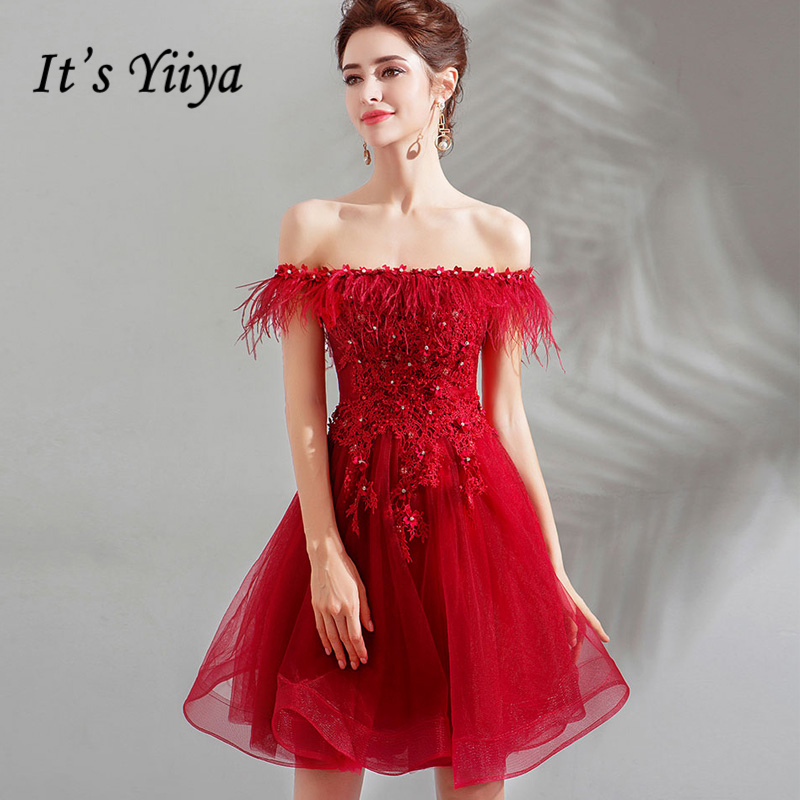 It's YiiYa Cocktail Dresses Red Boat Neck Tassel Crystal Knee-Length Ball Gowns Plus size high Grade LX1233 vestido coctel