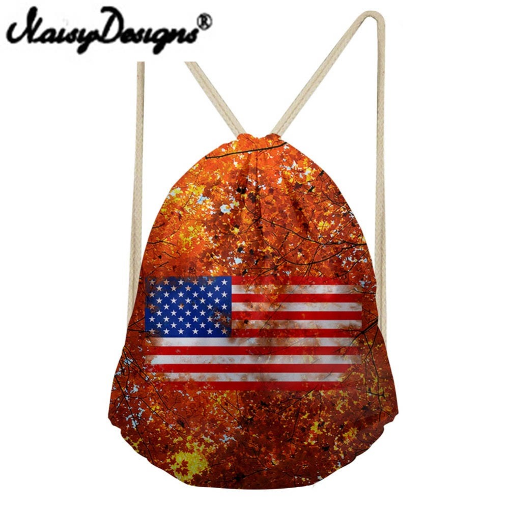 NOISYDESIGNS Women's American Flag Element Printing Colorful Drawstring Backpack School Bags For Teenager Unisex Pouch Mochila