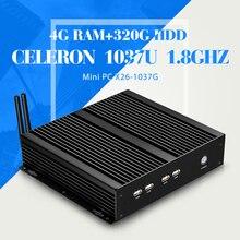 celeron C1037U 4g ram 320g hdd 4*com 8*usb 1*RJ-45 thin client mini pc station support hd video fanless design laptop computer