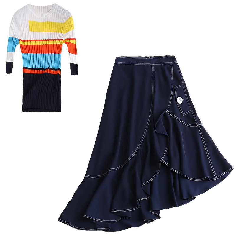 Multi Haut Piste Jupe 2 Irrégulière rayé D'été Printemps Tenues Mode Arc De Femmes 2019 Costume Pièce Ensembles en Tricoté Lady Designer frqWacfTR