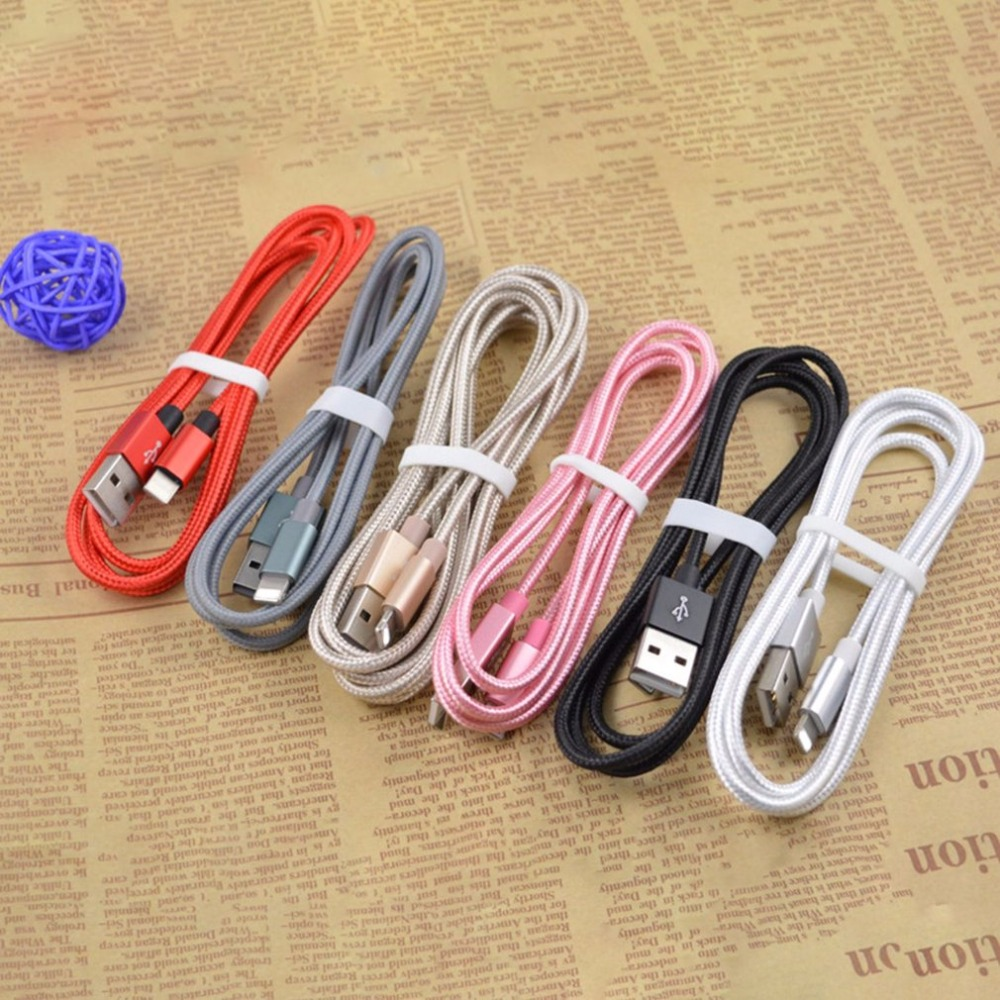 2018 1M USB Charger Cable Nylon Braided Cable High Speed Charging Data Transmission Sync Mobile Phone Cable Suitable for iPhone