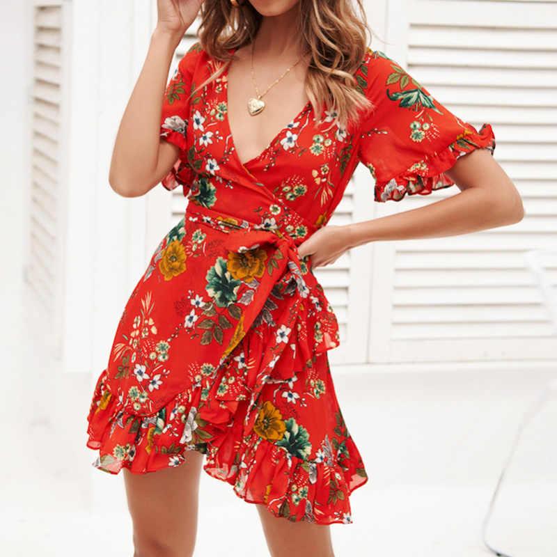 Женское платье 2019, летнее, бохо, цветочный принт, элегантное, с оборками, а-силуэт, пляжное платье, сексуальное, глубокий v-образный вырез, облегающее, с запахом, мини, вечерние платья