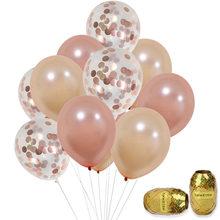 Balões de látex foleados em ouro rosado, balões de confete ouro champanhe para decoração de casamento, brindes de festa de aniversário com 10 peças