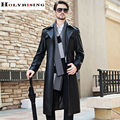 Черный Траншеи Пальто Мужчины Повседневная Pu Тонкий Мягкий Длинное Пальто Однобортный Мужские Куртки Casaco Masculino Высокое Качество Размер M-4XL