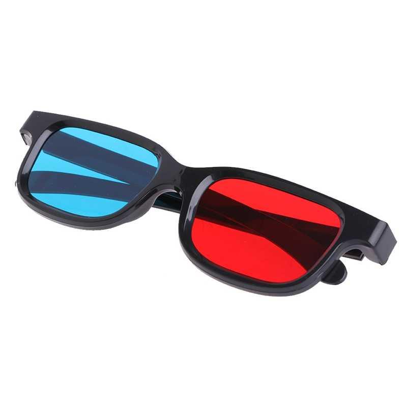Universal Hitam Frame Merah Biru Cyan Anaglyph 3D Kacamata 0.2 Mm untuk Permainan Film DVD