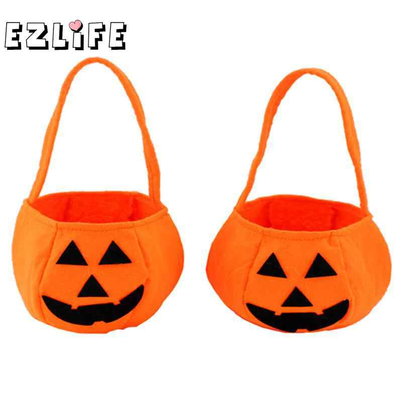 Foldable Candy Smile Pumpkin Bag Folding Personality Gift Basket Wacky Expressions Treat Or Tricky Kt0768