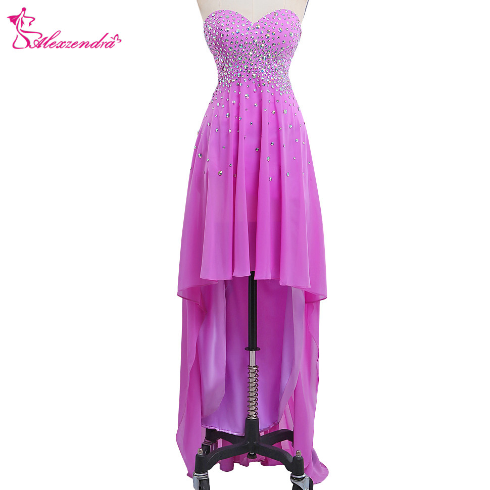 Alexzendra Beaded Bodice Purple High Low Chiffon   Prom     Dresses   Crystals Sweetheart Bridesmaid   Dresses   Party   Dress