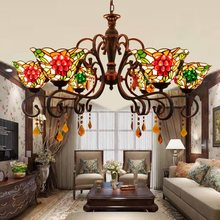 European style chandelier pastoral Grape living room lamp Tiffany Stained glass dining room restaurant lamp LED crystal lighting(China)