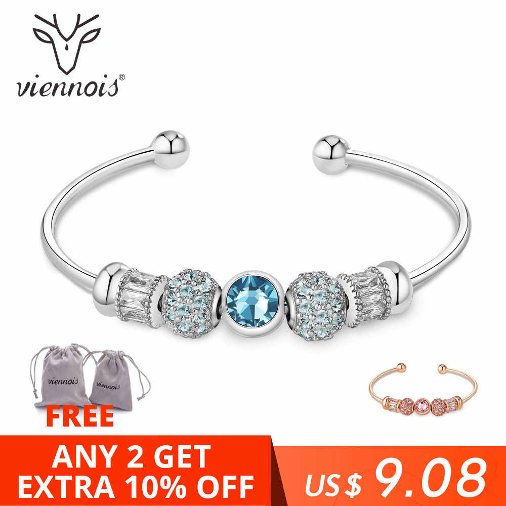 Viennois Rose Gold / Silver Color Bracelet&Bangles For Women Fashion Top Austrian Rhinestone Blue Crystal Jewelry 2019